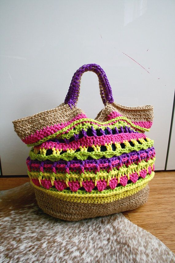 Crochet pattern, market shopper bag pattern, granny crochet bag ...