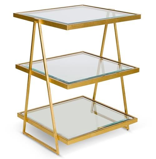 Destiny Hollywood Regency Gold Glass 3 Tier Side Table With