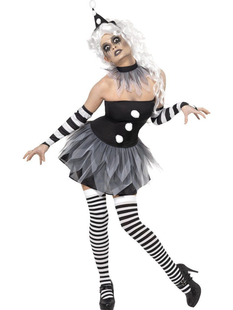 Harlequin Costume Adult Creepy Clown Pierrot Halloween Fancy Dress