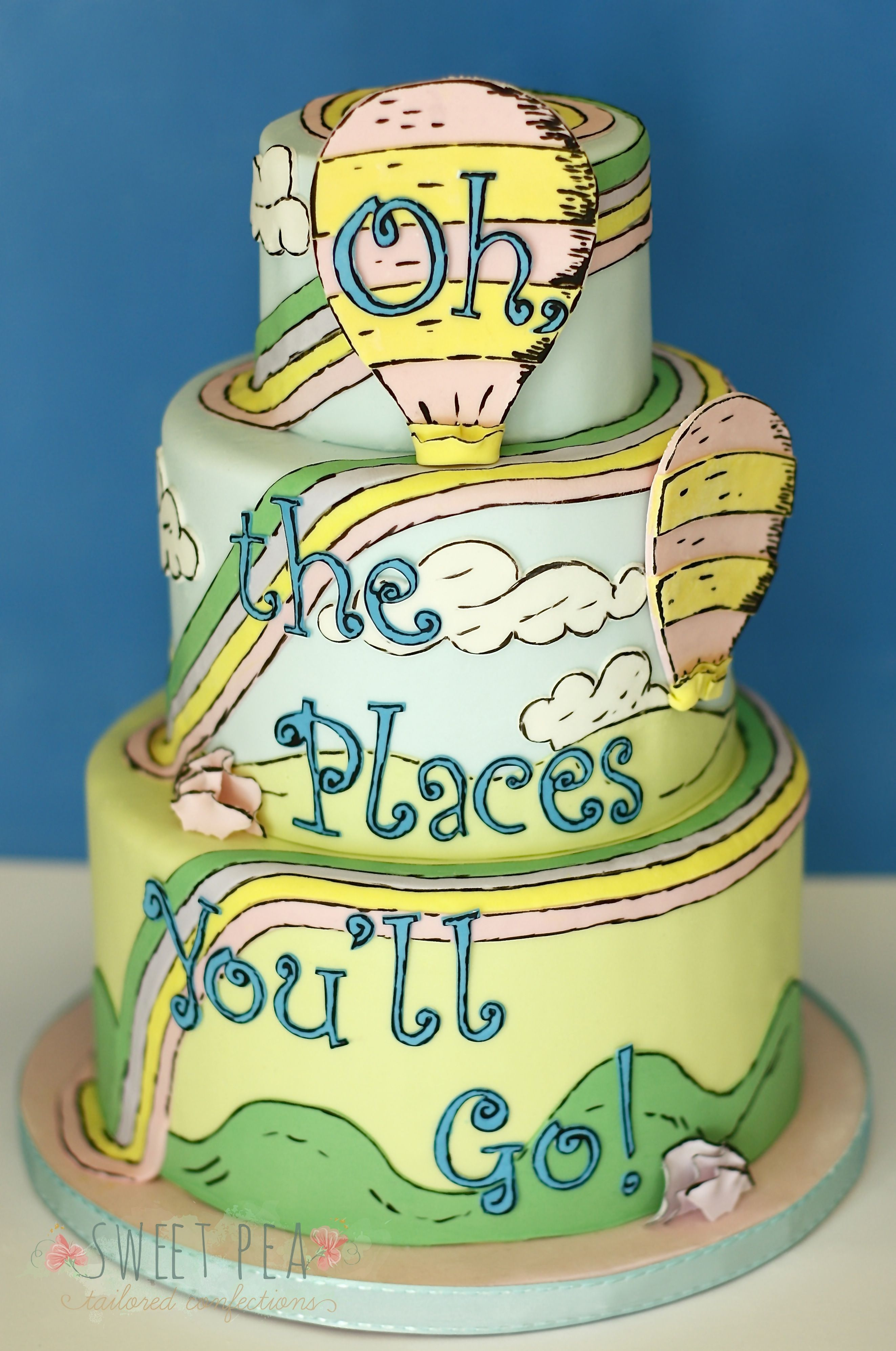 Pleasing Mg 0018 Graduation Cakes Seuss Cakes Dr Seuss Cake Personalised Birthday Cards Veneteletsinfo
