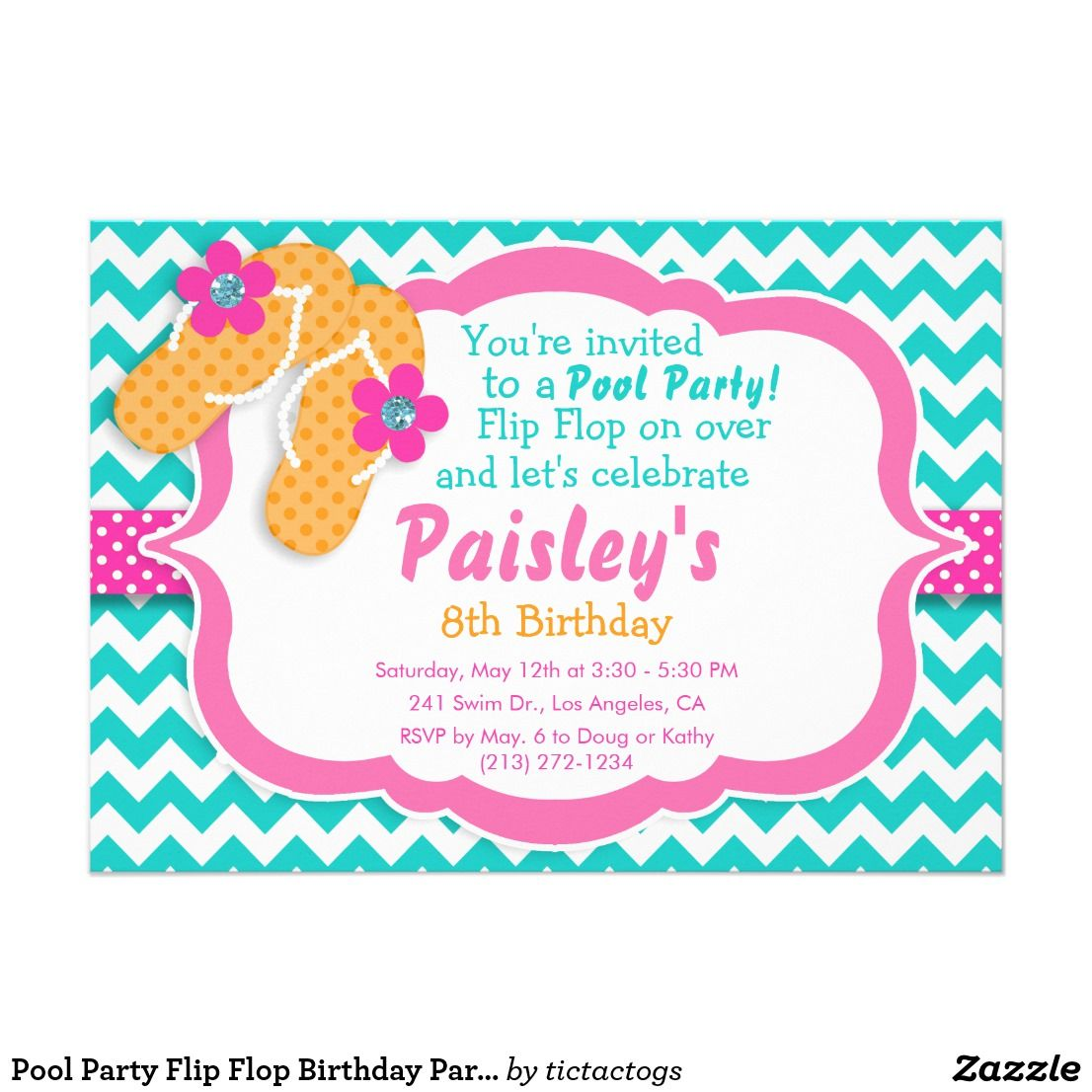 Pool Party Flip Flop Birthday Party Invitation | Party invitations ...