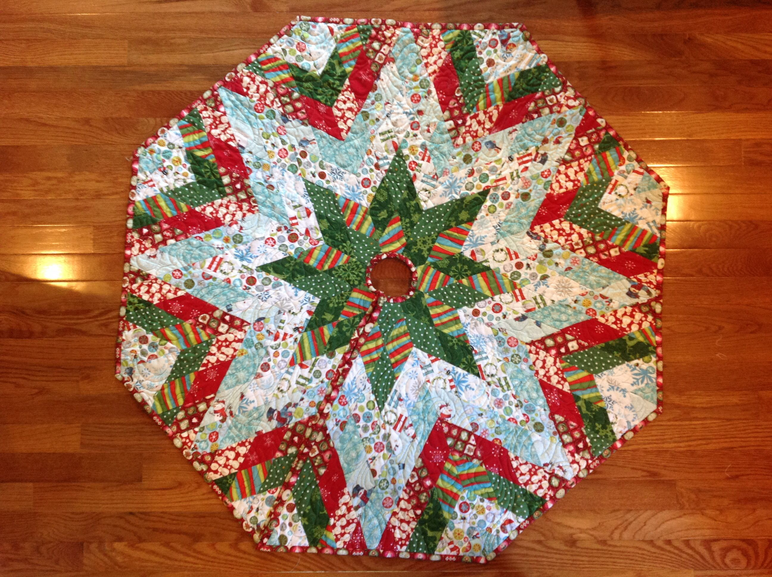 Christmas Tree Skirt Made By English Paper Piecing. I Used