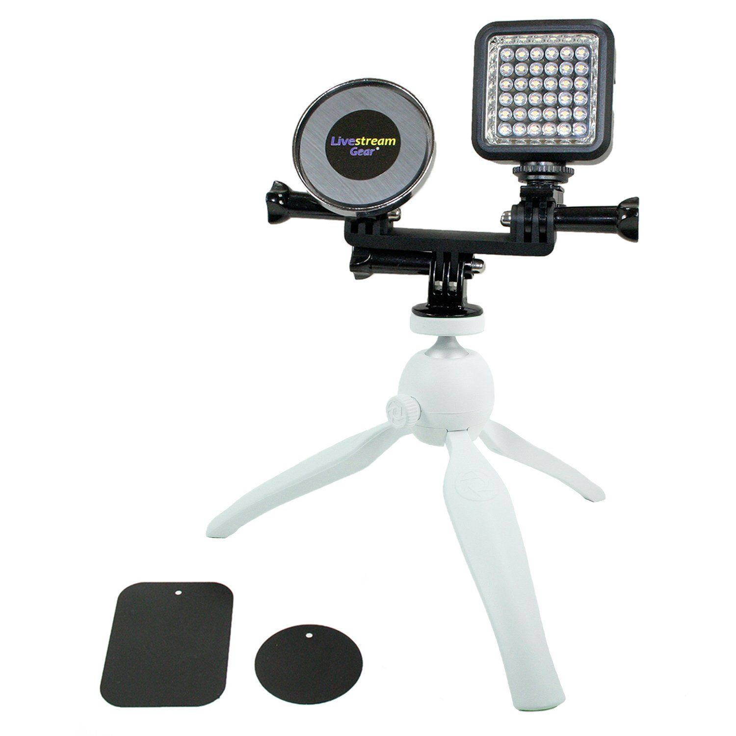Live Stream Gear Phone And Led Light Tripod Setup With Magnetic Mount System Mount Any Phone Via Magnet And Met Selfie Ring Light Led Lights Rechargeable Light