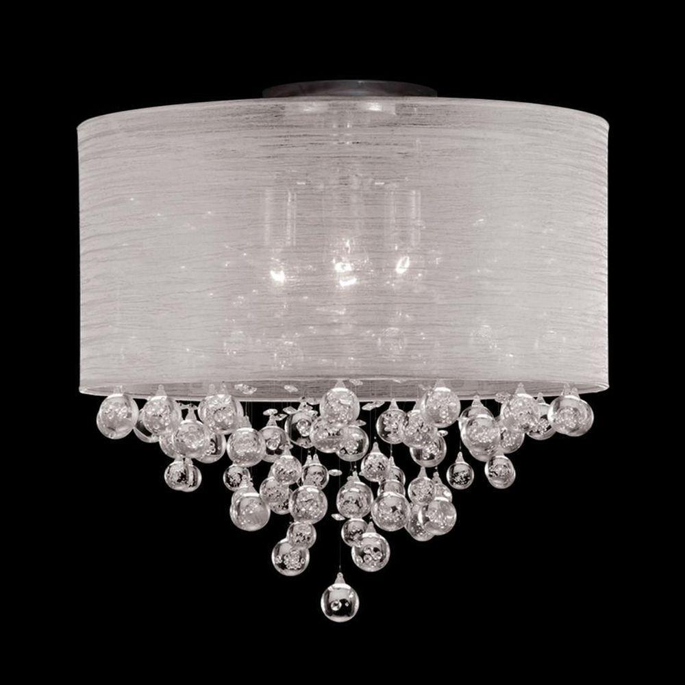 New 4 Bulb Drum Shade Flush Mount Crystal Chandelier Ceiling