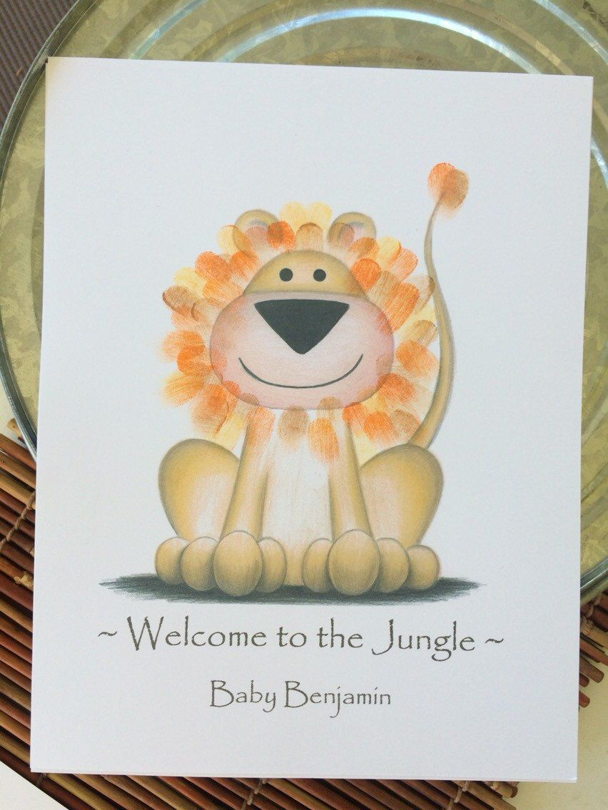 guest book jungle safari animals baby shower finger print guest book