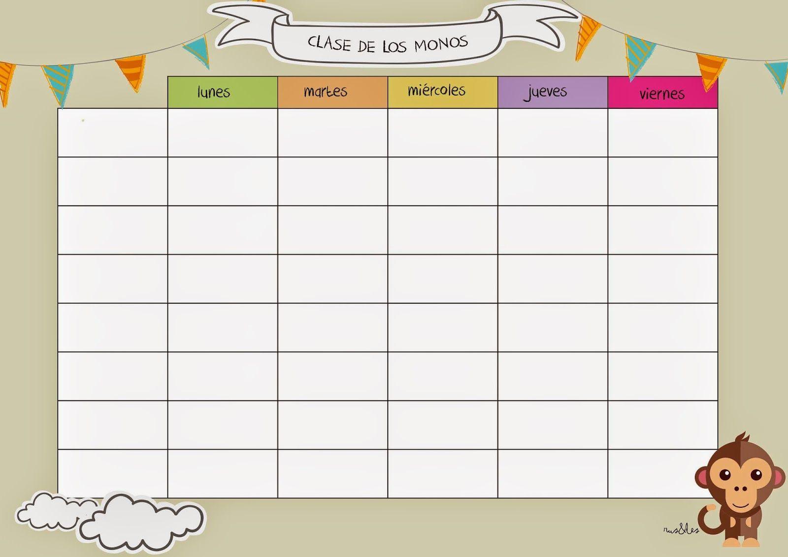 Horario clase monos | Infantil | Pinterest | Horario clases, Horario ...