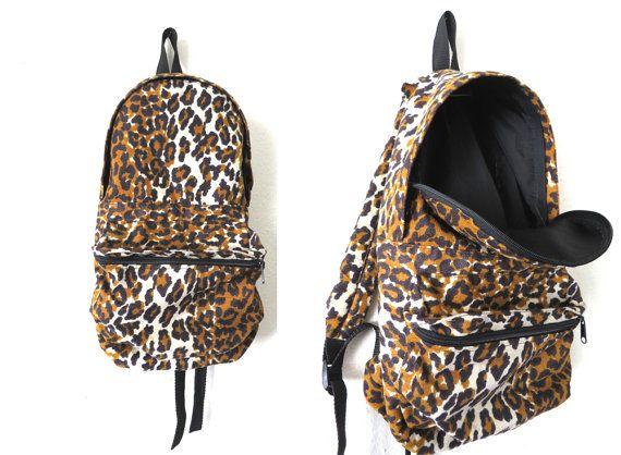 90s Fuzzy Velvet Cheetah Print Backpack