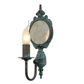Lustrarte Candle 5.12-In W 1-Light Antique Green Arm Hardwired Wall Sc