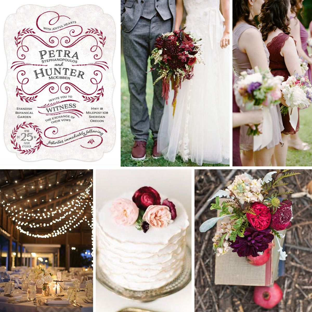 "#Fall #Wedding Inspiration featuring ""Joy of Scroll"" wedding invitations in deep red."