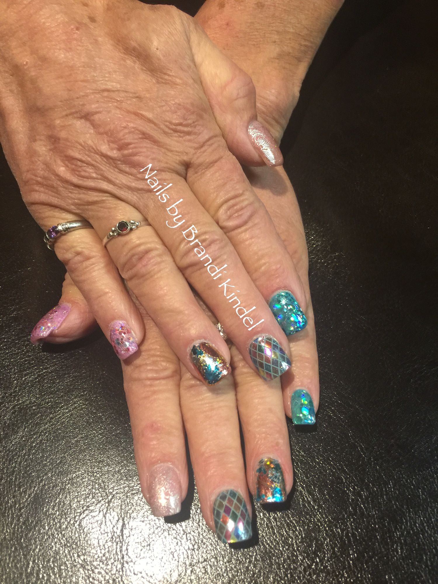 Hard Gel fill with nail art for Mom last night! I love that she lets ...