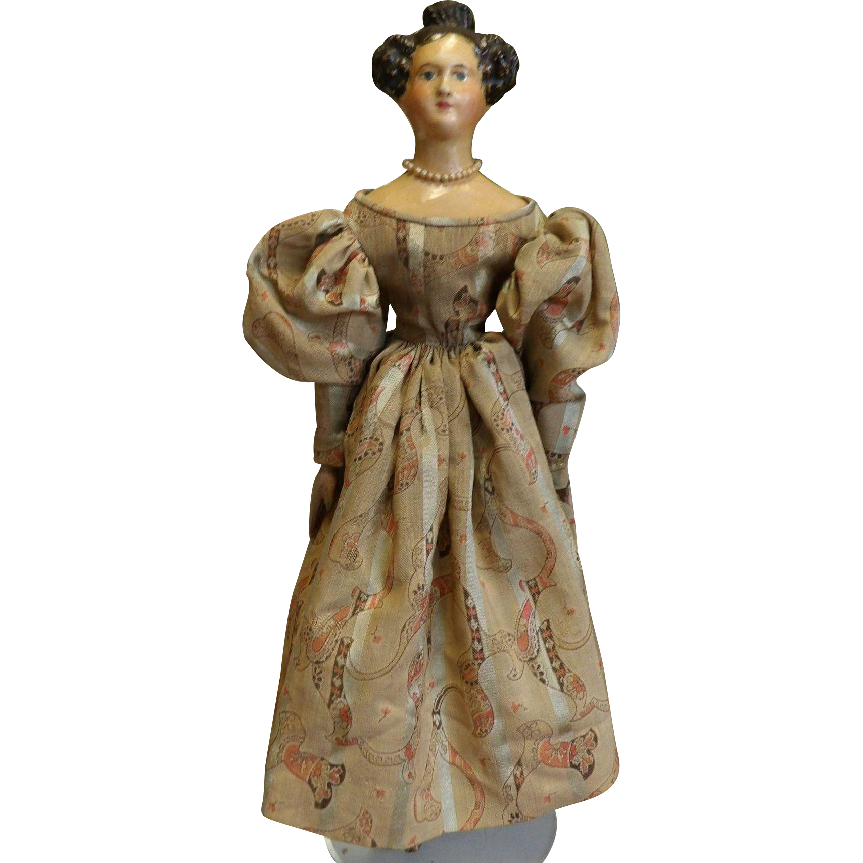 Antique 19thc Paper Mache Doll with Apollo Knot on Milliner's Model from classicdolls on Ruby Lane