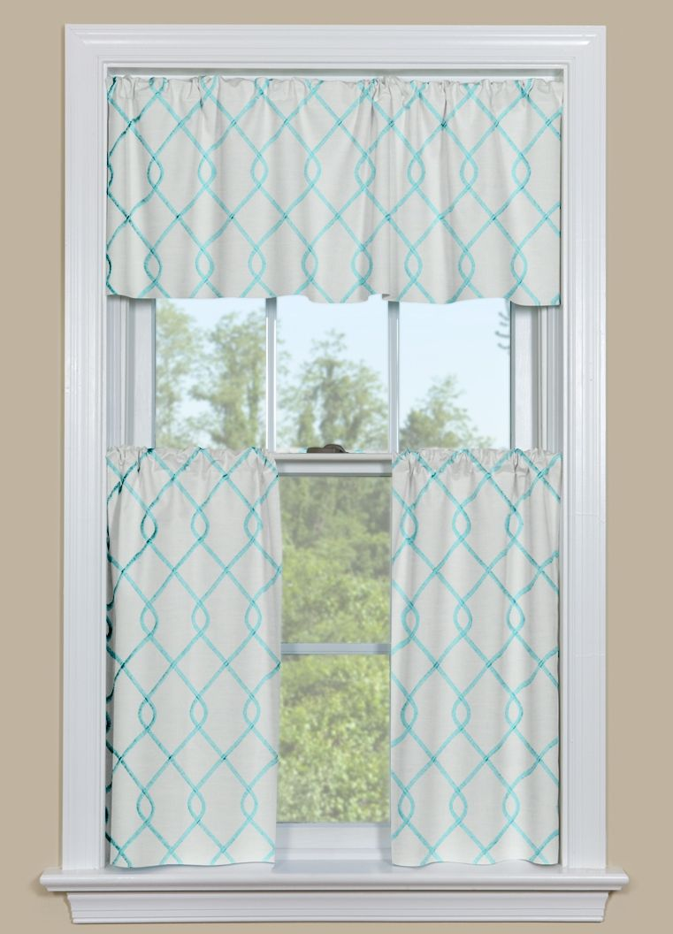 Embroidered kitchen curtain panel in aqua blue blue contemporary