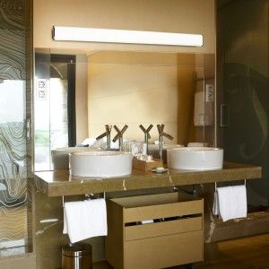 One Long Fluorescent Light Above A Vanity Gives A Great Even Light - Long bathroom light fixtures