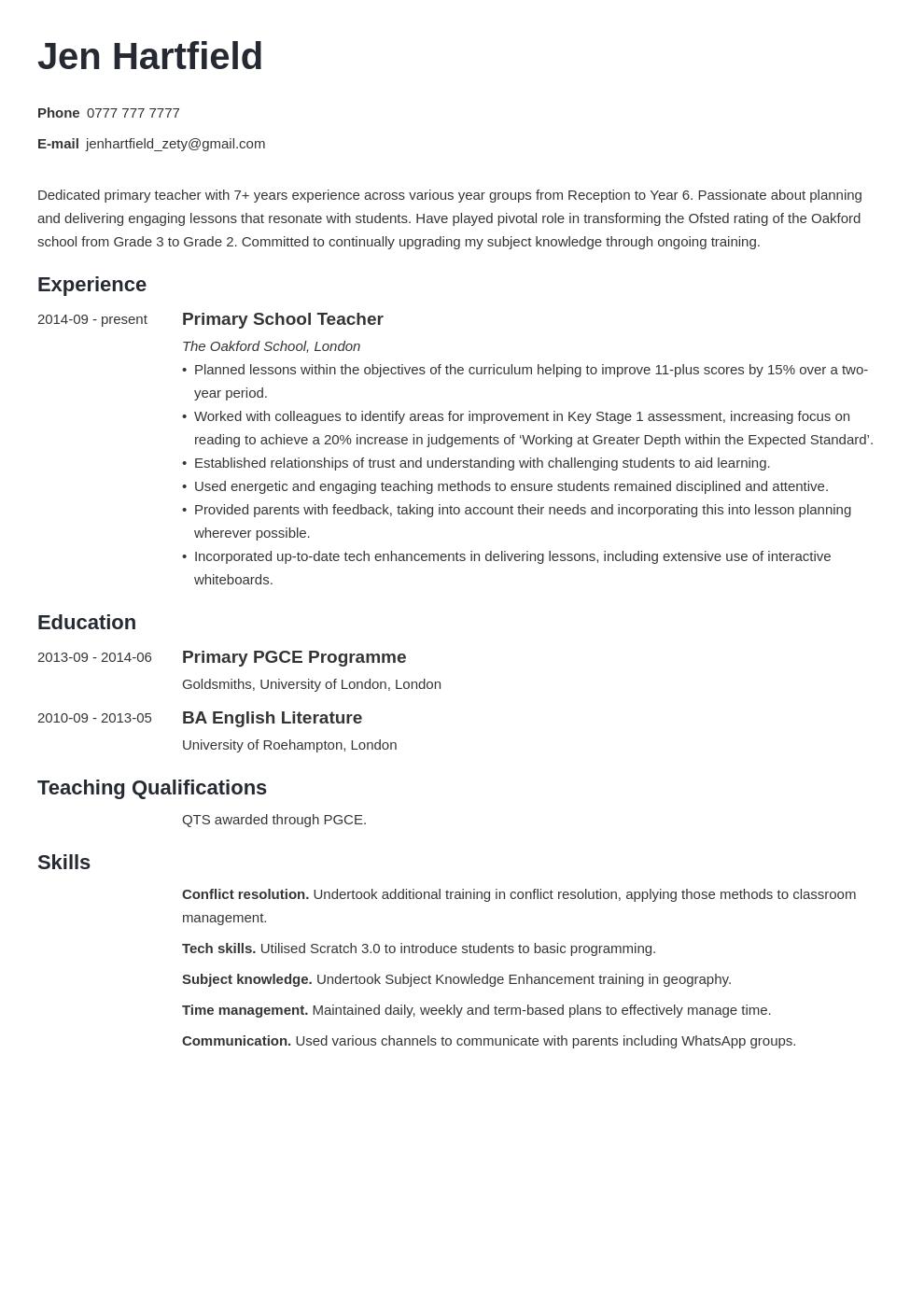 uk teacher cv example template minimo in 2020 Teaching