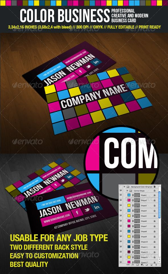 Color Business Fashion Business Cards Business Cards Creative Business Card Modern