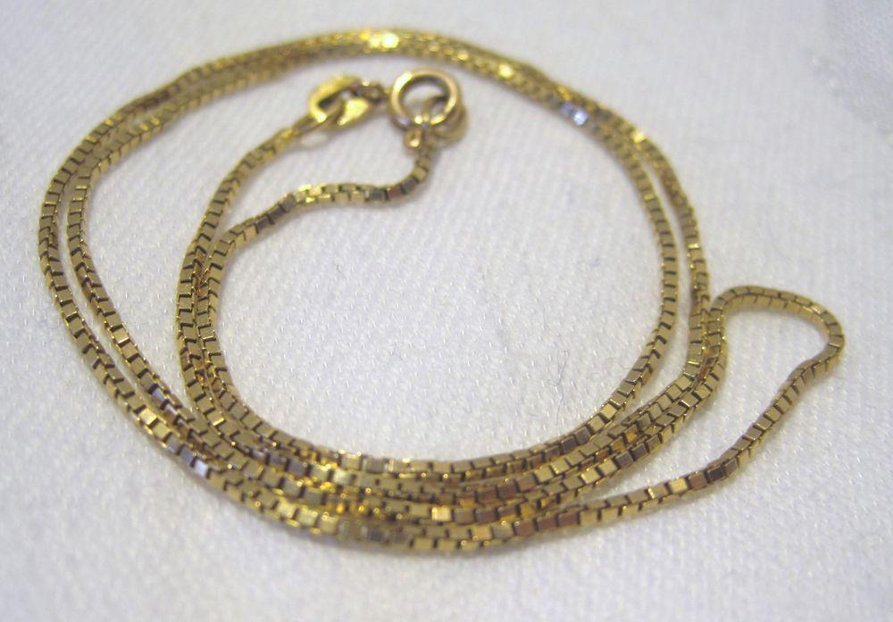Brilliant Bijou 14k Yellow Gold Solid Box Chain Necklace