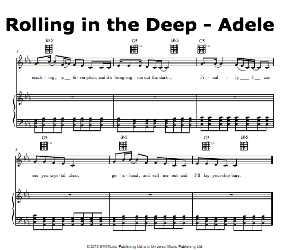 Rolling in the deep chord guitar