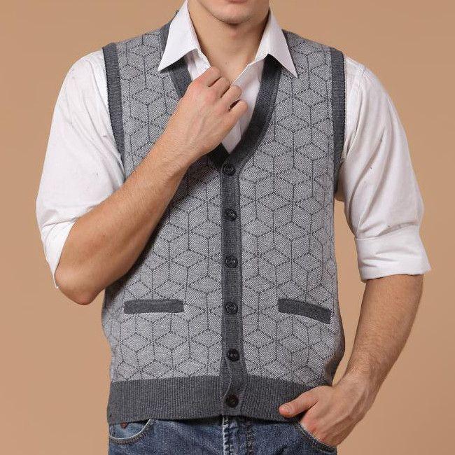 Men Fall Winter Woollen V-neck Button Warm Cardigan Waistcoat Vest ...