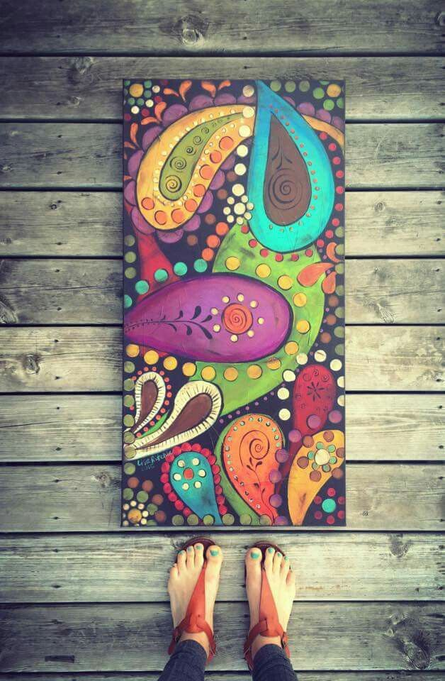 Paisley Art Folk Paintings Canvas Pen Naive Crafts Painting Techniques Photo Country