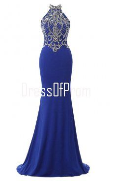 9e1288ce32f4 Royal Blue High Neck Chiffon Tulle Sweep Train Beading Open Back Trumpet Mermaid  Prom Dress