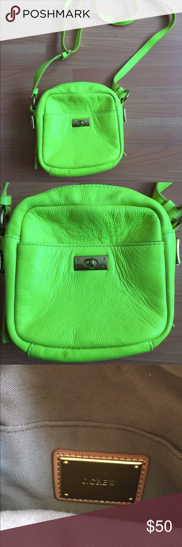 J. Crew Neon Green shoulder bag Excellent condition neon green/yellow shoulder bag. Only worn a few times. Inside lining is in perfect condition. One small black mark on backside of bag. J. Crew Bags Shoulder Bags