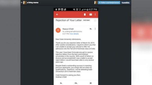 North Carolina Teen Writes Rejection Letter to Duke Universityu0027s - rejection letter