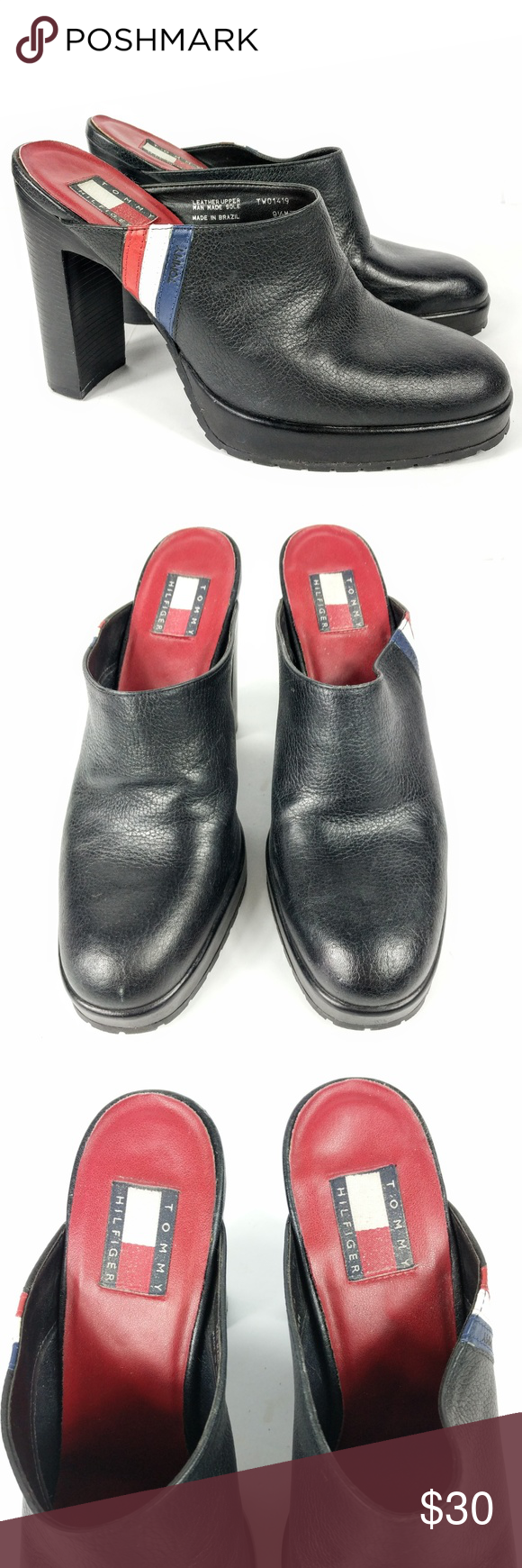 ebb184fd167a1f Tommy Hilfiger Vintage Mules Size 9.5M Clogs Black Tommy Hilfiger Womens  Mules Size 9.5 M Vintage Clogs Black Leather Block Stacked Heel Red Blue  White ...