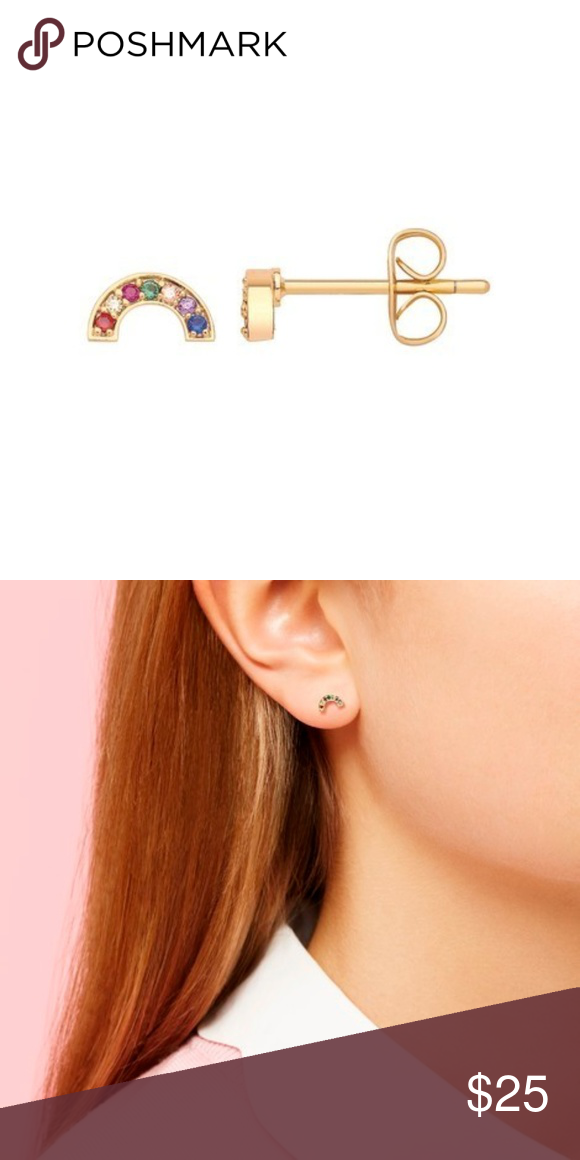 addf5042bd38b Estella Bartlett Gold-Plated Rainbow Stud Earrings These lovely gold ...