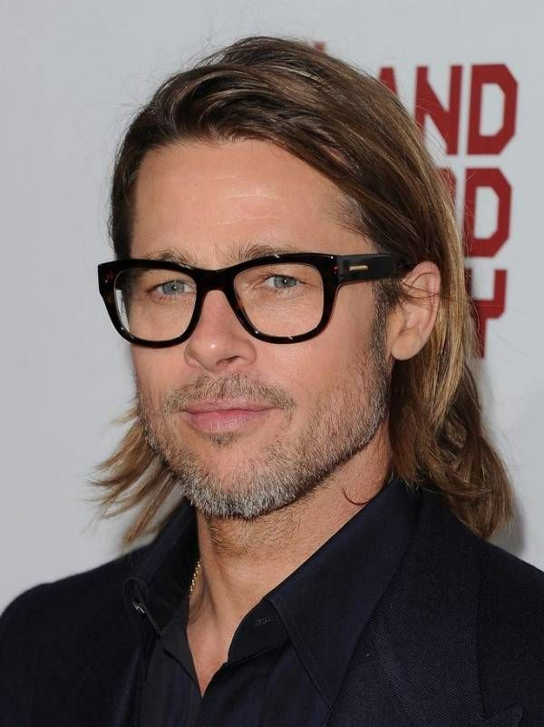 35 Celebrities With Glasses Brad Pitt Long Hair Celebrities With Glasses Brad Pitt