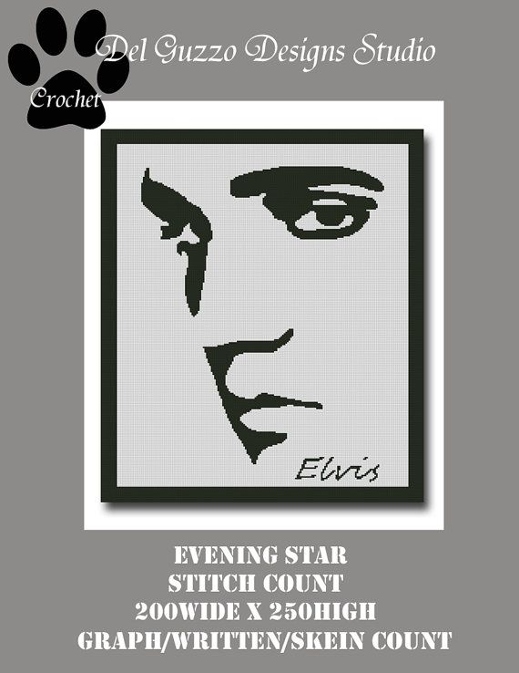 Elvis Silhouette Crochet Graph Graphghan Pattern Word Chart WITH WRITTEN INSTRUCTIONS