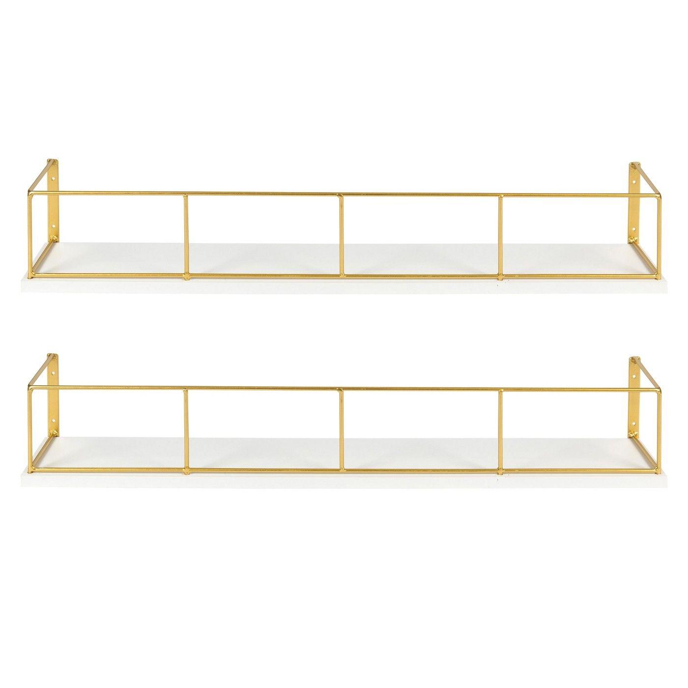 24 X 4 2pc Decorative Wall Shelf Set White Gold Uniek Wall