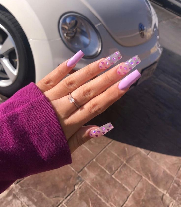 Crazy Jelly Nails See Through Purple With Stars Jelly Nails Square Acrylic Nails Cute Acrylic Nails Jelly Nails