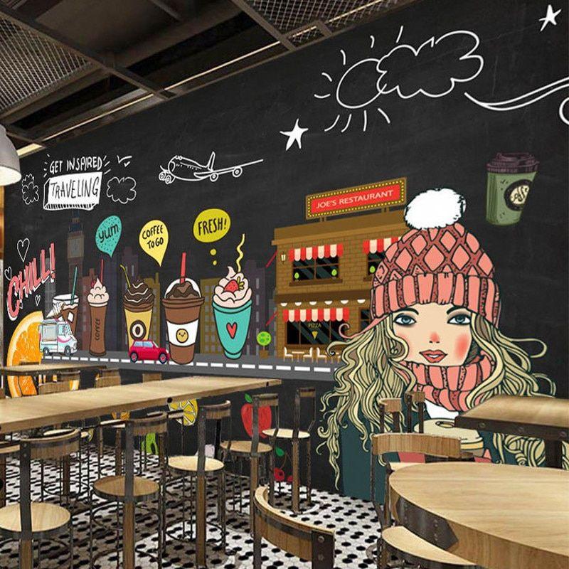 Dropshipping Juice Shop Custom 3d Photo Wallpaper Hand Painted Blackboard Fruit Coffee Shop Wall Cold Drink Shop Ba Cafe Wall Art Coffee Shop Design Cafe Wall