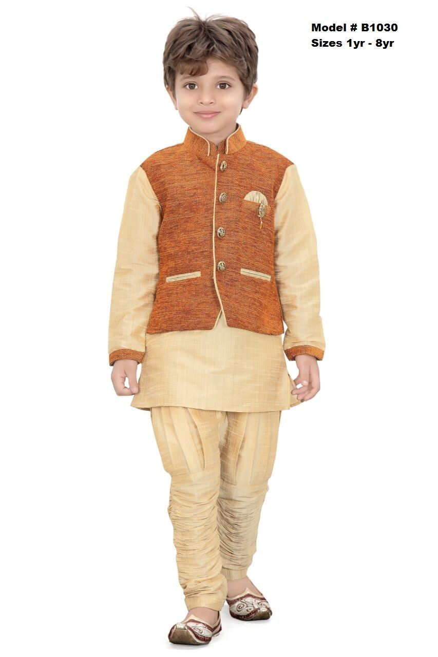 8ef6ec9408 Party wear premium quality Traditional Design Sherwani suit. The dress  features a gold silk Kurtha with Gold Pajama and a mustard color jute coat.