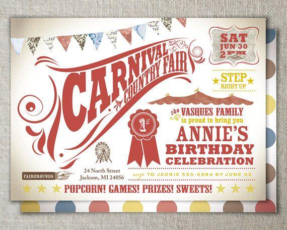 Carnival birthday invitation Set of 30 5 x 7 cards Carnival