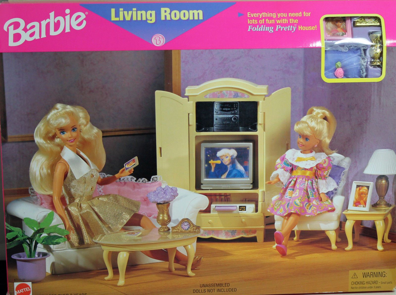 1996 Barbie Pretty Folding House Living Room Furniture Play Set 67553 91 Mattel