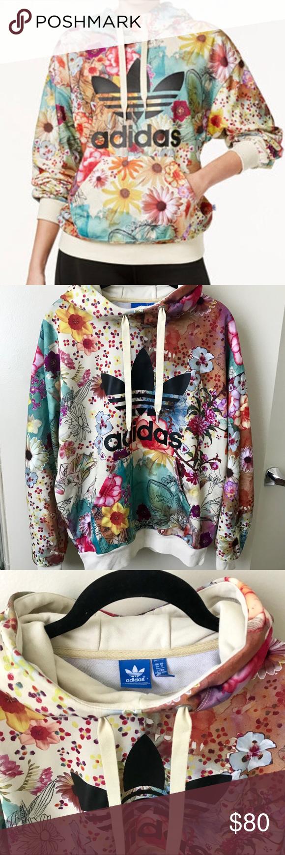 467faadf6615 Adidas Rare Farm Confete Trefoil Hoodie Sweatshirt Super comfy adidas  floral print pullover style sweatshirt.