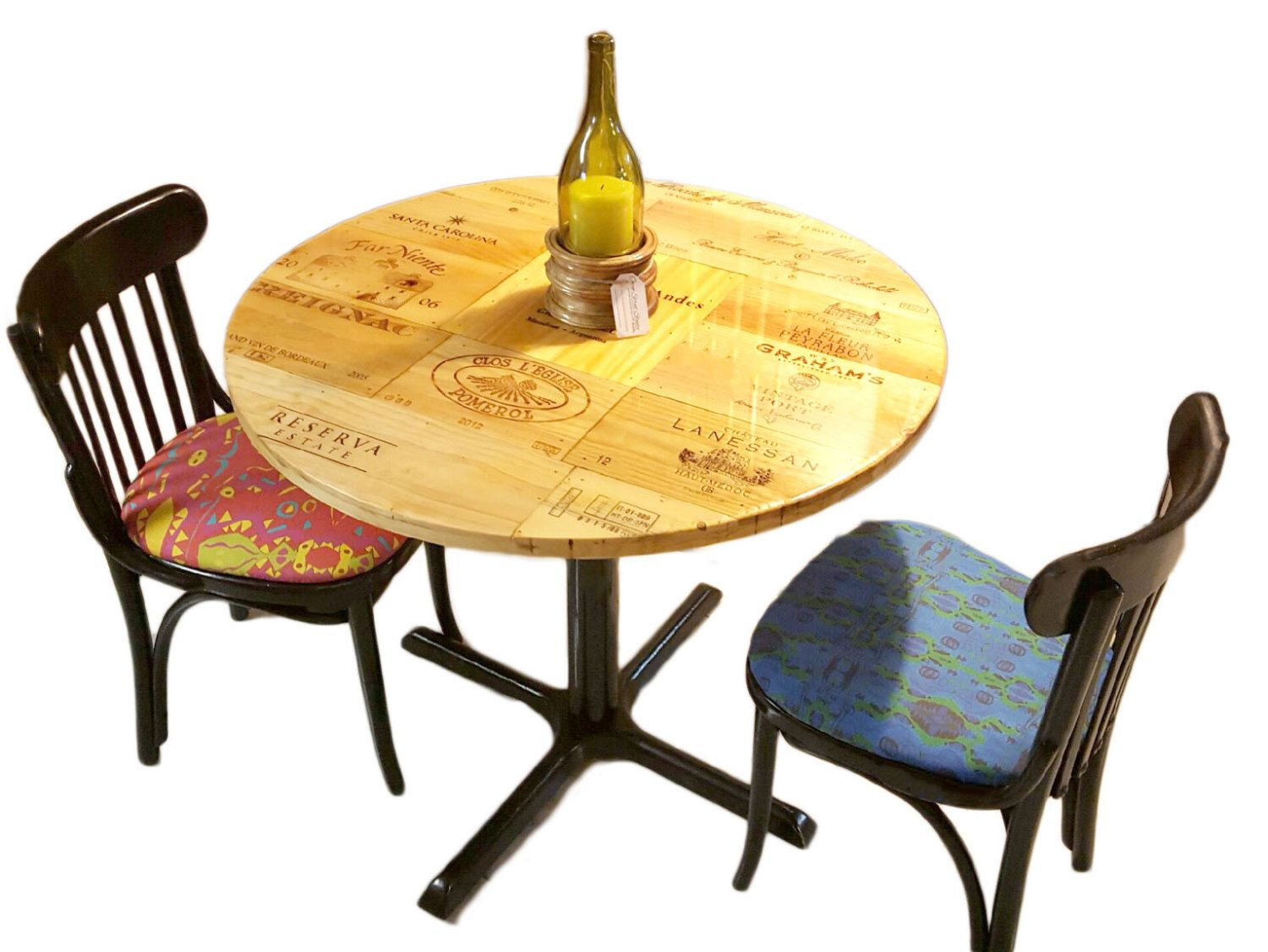 Wine crate cafe table and chairs rustic reclaimed wood table