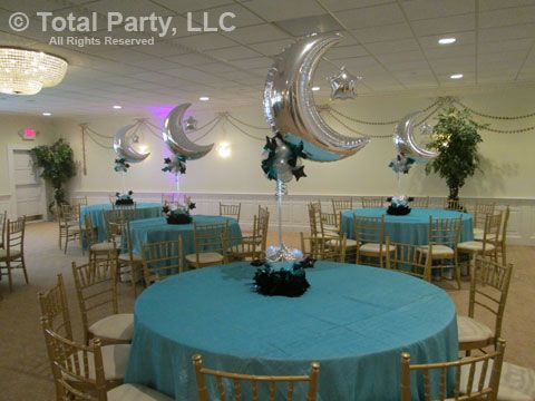 nj party decorations event centerpieces for weddings bar bat starry night moon party. Black Bedroom Furniture Sets. Home Design Ideas