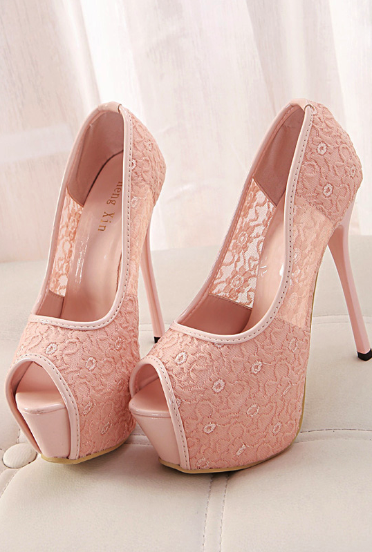 Pink lace high heels #shoes
