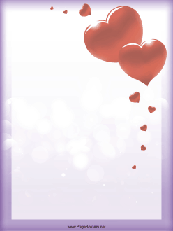 Heartshaped balloons in all sizes float off on the purple