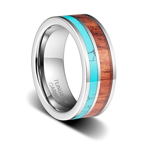 TUSEN JEWELRY 8mm Tungsten Carbide Ring Silver Color Wedding Band Highly Polished