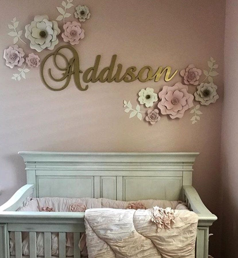 Gold Glitter Name Sign For Nursery Baby And Kids Room Decor Wooden
