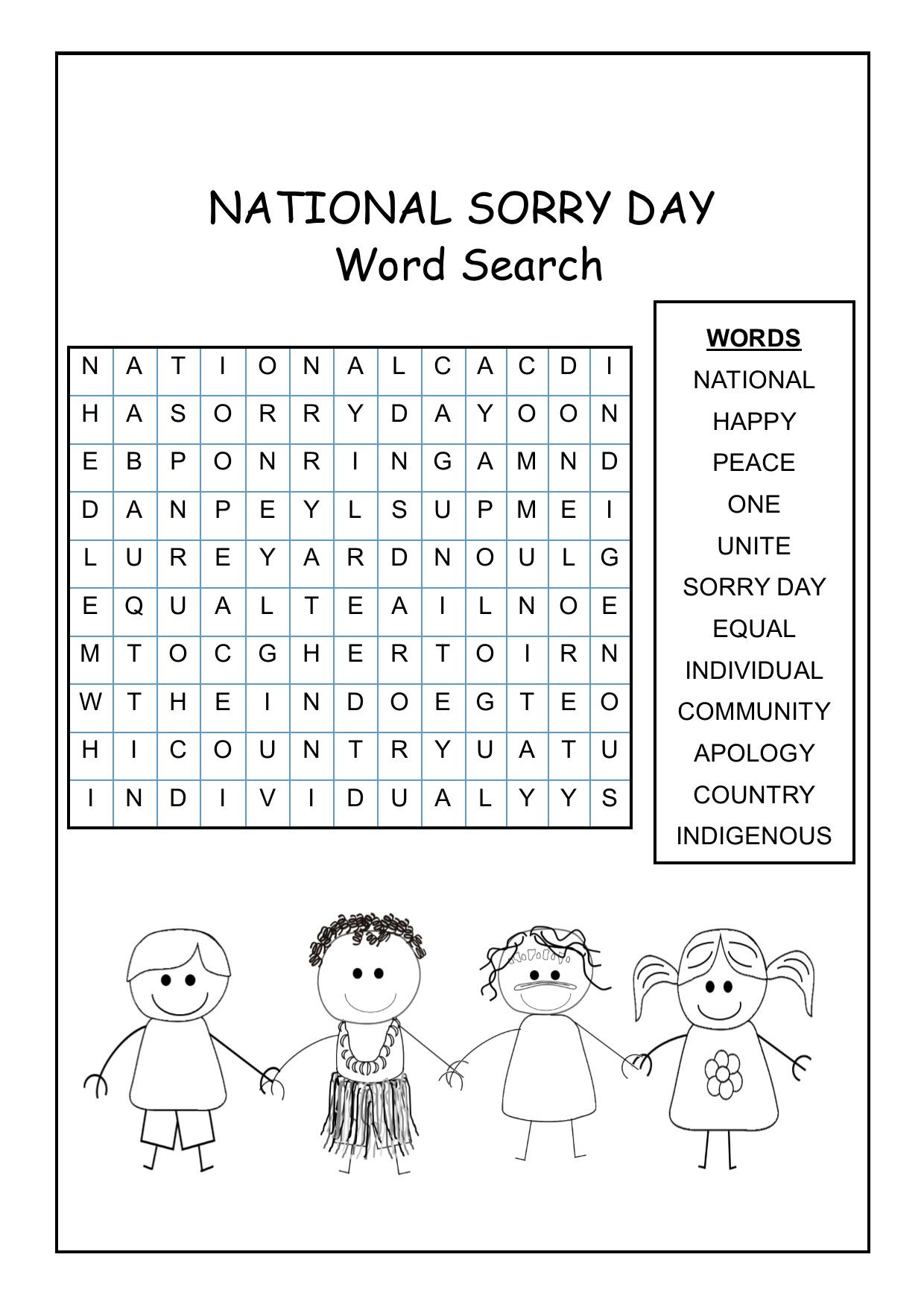 National Sorry Day Word Search