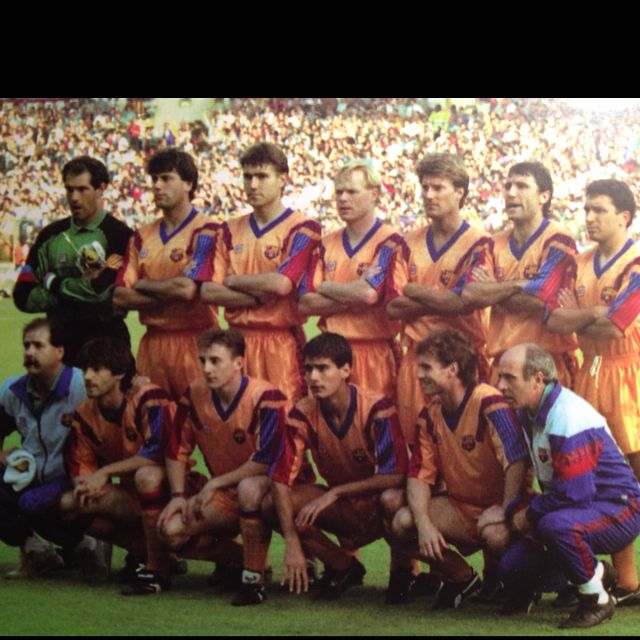 FC Barca - European Cup winners 1992. Coach Johan Cruyff. Key players - Michael Laudrup, Koeman, Romario, Stoichkov, Guardiola.