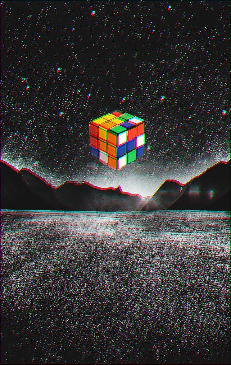 Rubik flying.  Apps:: Superimpose, Snapseed, Pix.
