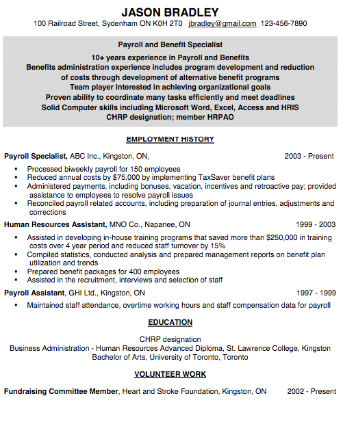 Resume For Payroll Assistant  HttpExampleresumecvOrgResume