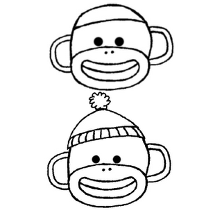 Sock Monkey Drawings Just An Idea Of The Shape Of Head And Features Monkey Coloring Pages Sock Monkey Birthday Sock Monkey Pattern