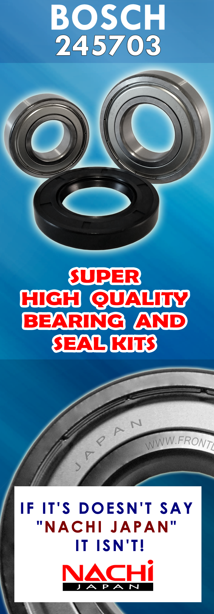 Pin On Front Load Washer Tub Bearing And Seal Kit