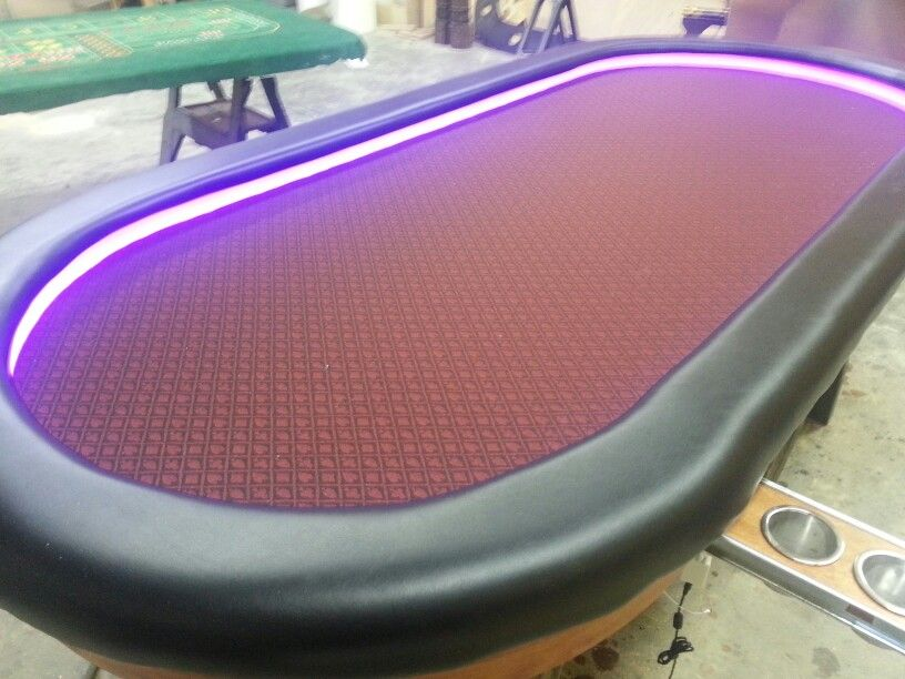 Slide Out Cup Holders, Raised Rail With Led Lighting. Custom Poker TablesCup  ...